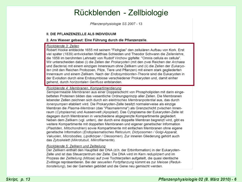 Rückblenden - Zellbiologie