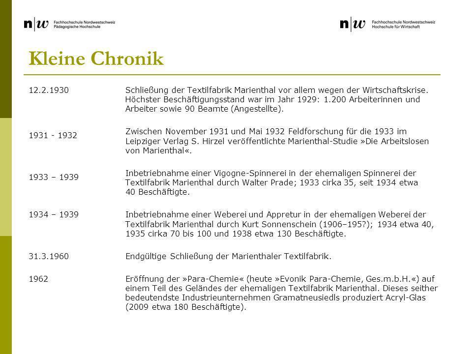 Kleine Chronik 12.2.1930. 1931 - 1932. 1933 – 1939. 1934 – 1939. 31.3.1960. 1962.