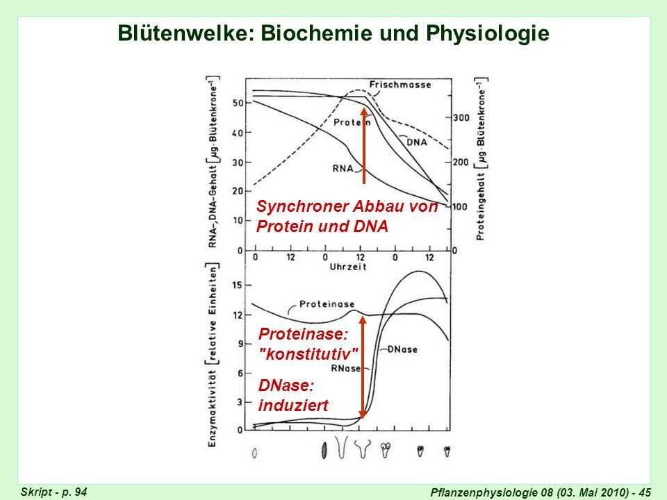 Blütenwelke: Biochemie und Physiologie