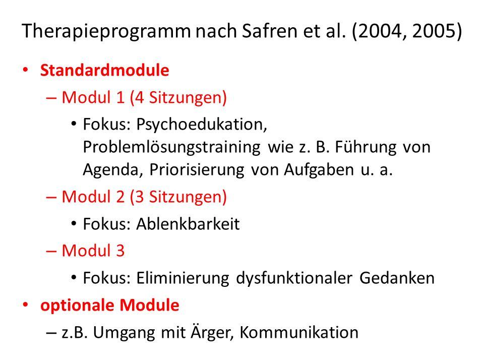 Therapieprogramm nach Safren et al. (2004, 2005)
