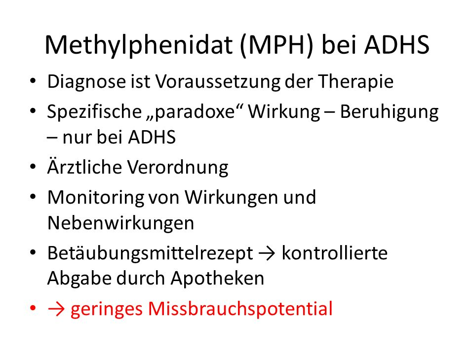 Methylphenidat (MPH) bei ADHS