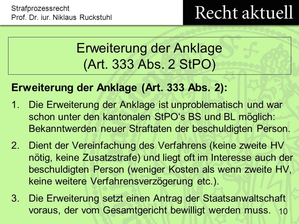Erweiterung der Anklage (Art. 333 Abs. 2 StPO)