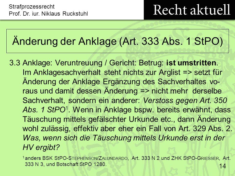Änderung der Anklage (Art. 333 Abs. 1 StPO)