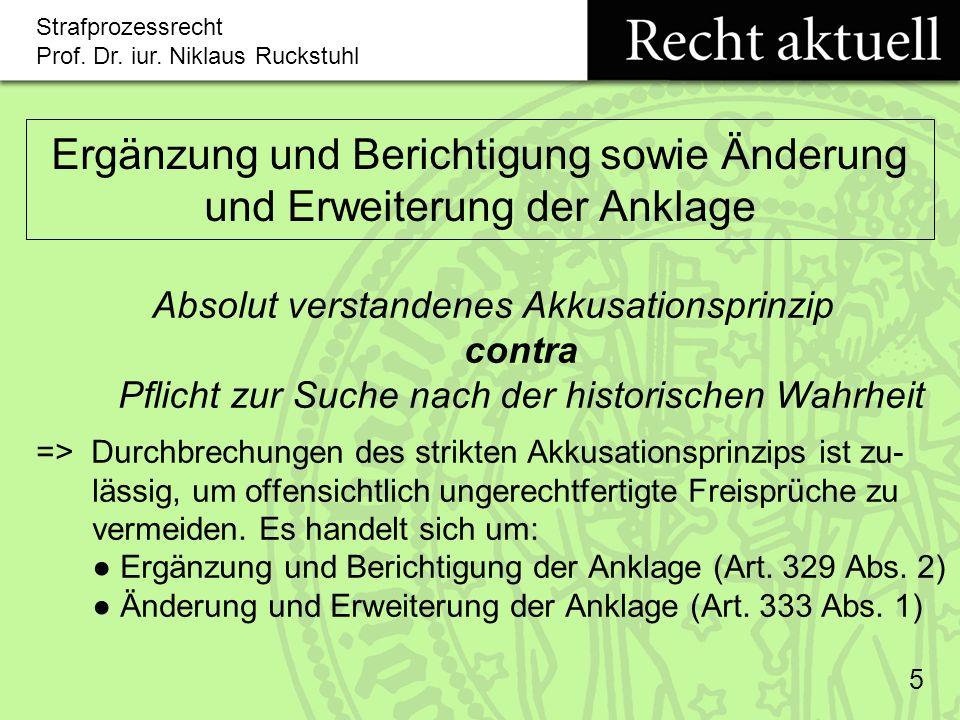 Ergänzung und Berichtigung sowie Änderung und Erweiterung der Anklage