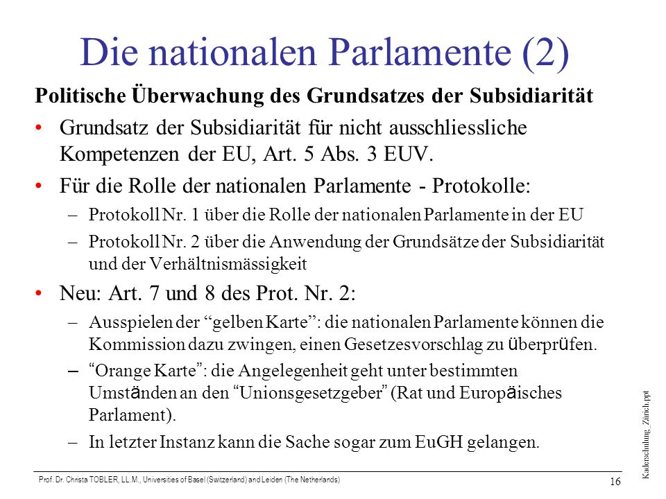 Die nationalen Parlamente (2)