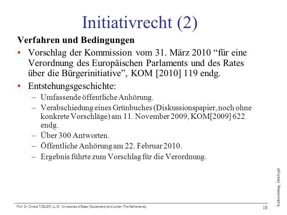 Initiativrecht (2) Verfahren und Bedingungen