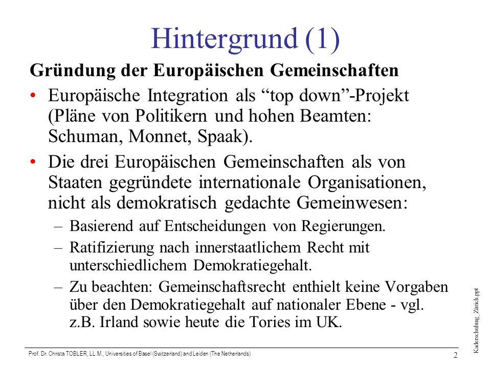 Hintergrund (1) Gründung der Europäischen Gemeinschaften