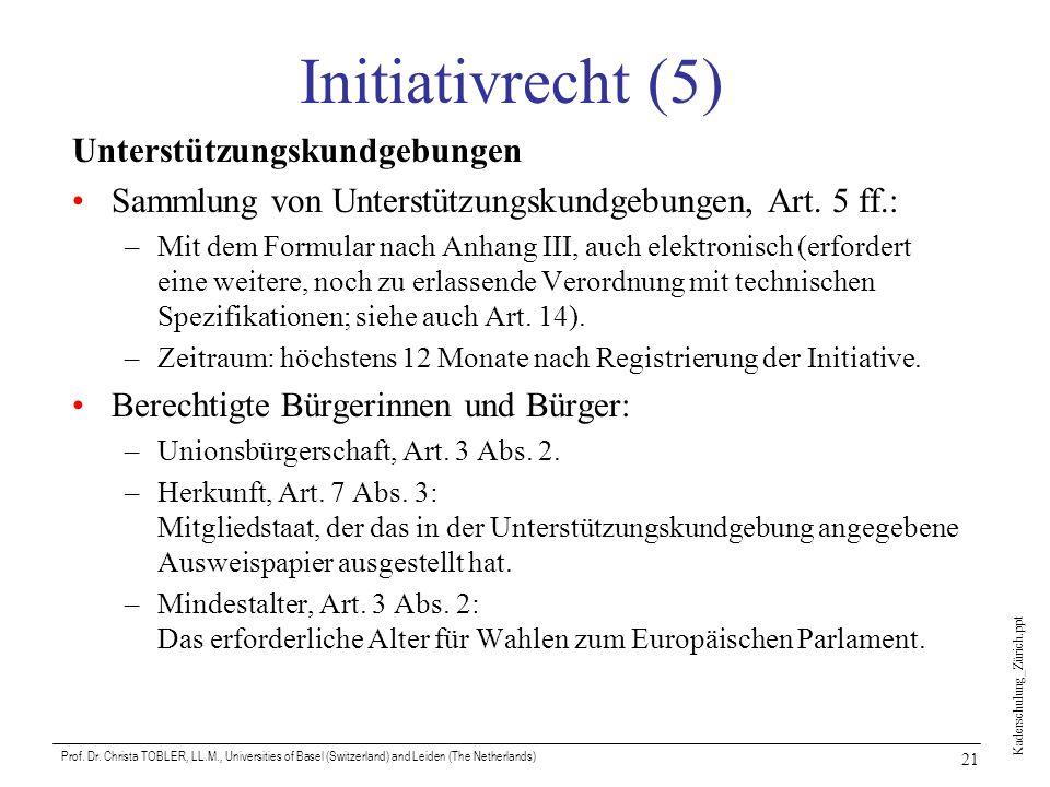 Initiativrecht (5) Unterstützungskundgebungen