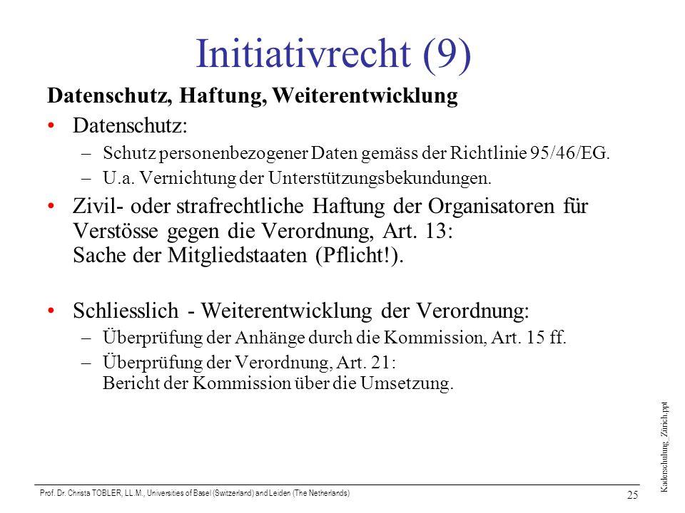 Initiativrecht (9) Datenschutz, Haftung, Weiterentwicklung