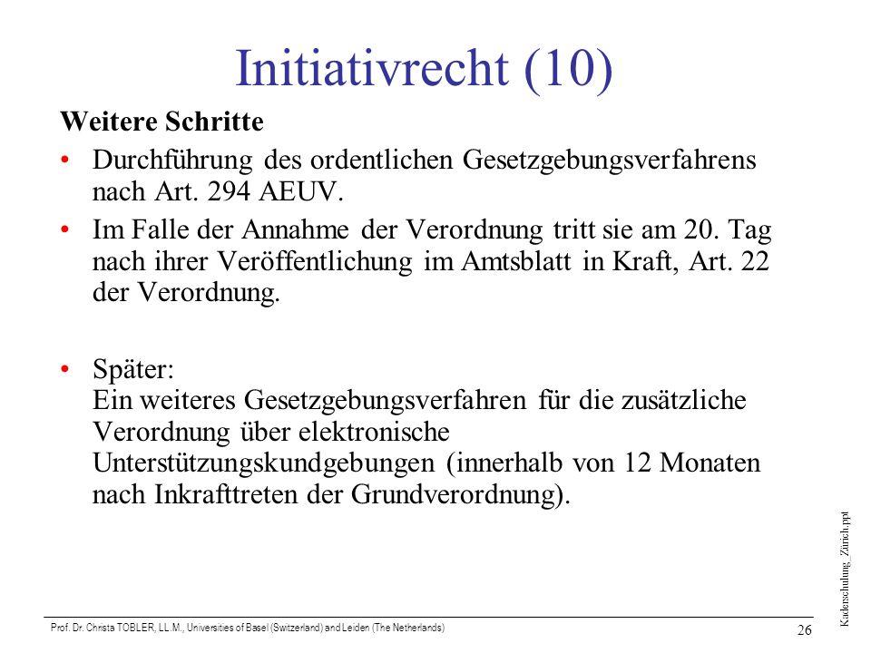 Initiativrecht (10) Weitere Schritte
