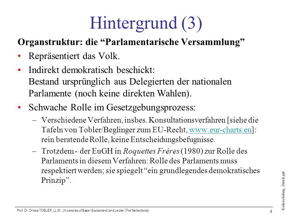 Hintergrund (3) Organstruktur: die Parlamentarische Versammlung