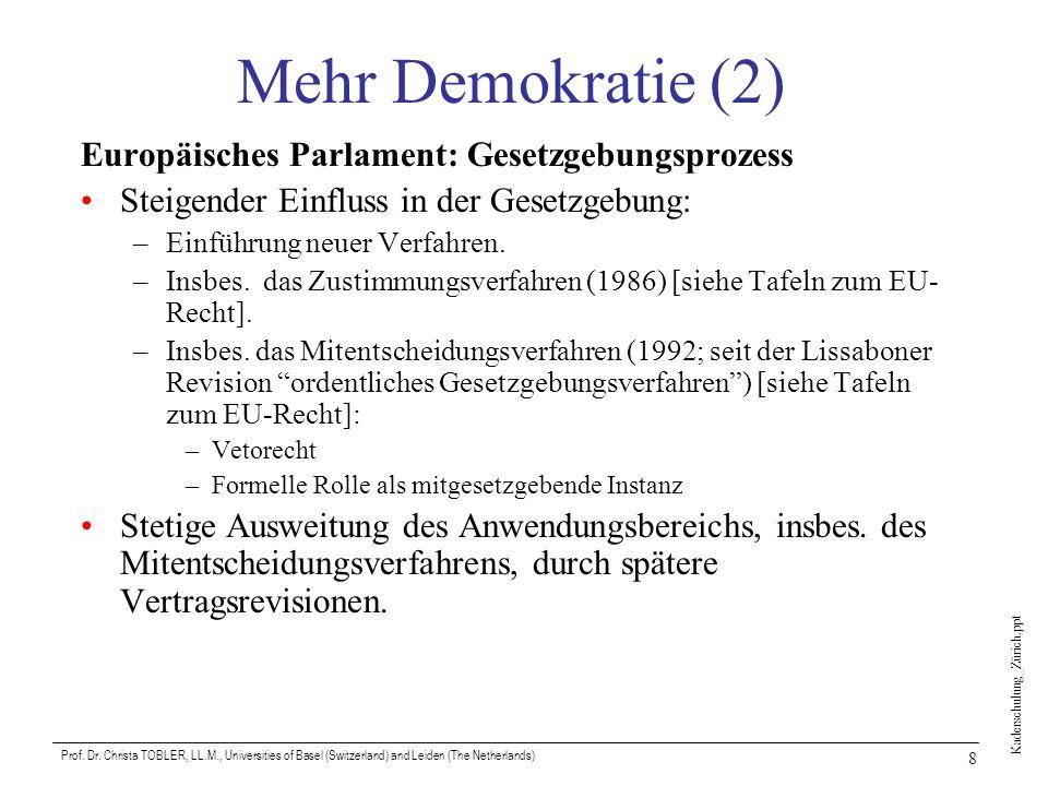 Mehr Demokratie (2) Europäisches Parlament: Gesetzgebungsprozess