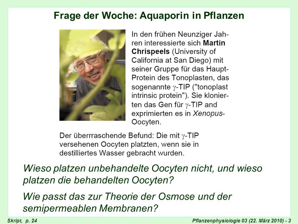 Frage der Woche: Aquaporin
