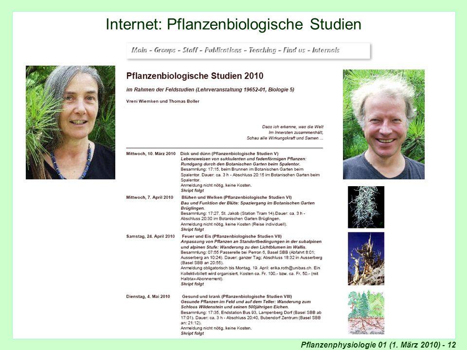 Internet: Pflanzenbiologische Studien