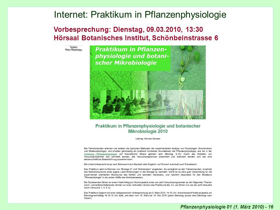Praktikum in Pflanzenphysiologie