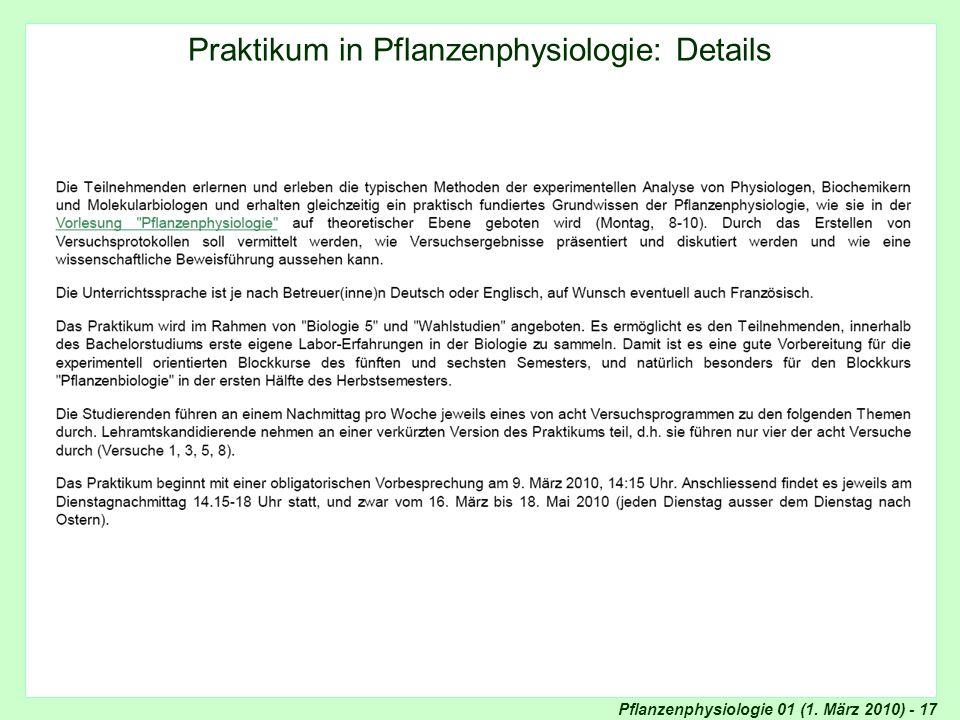 Details Praktikum in Pflanzenphysiologie