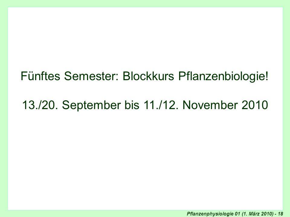 Blockkurs Pflanzenphysiologie
