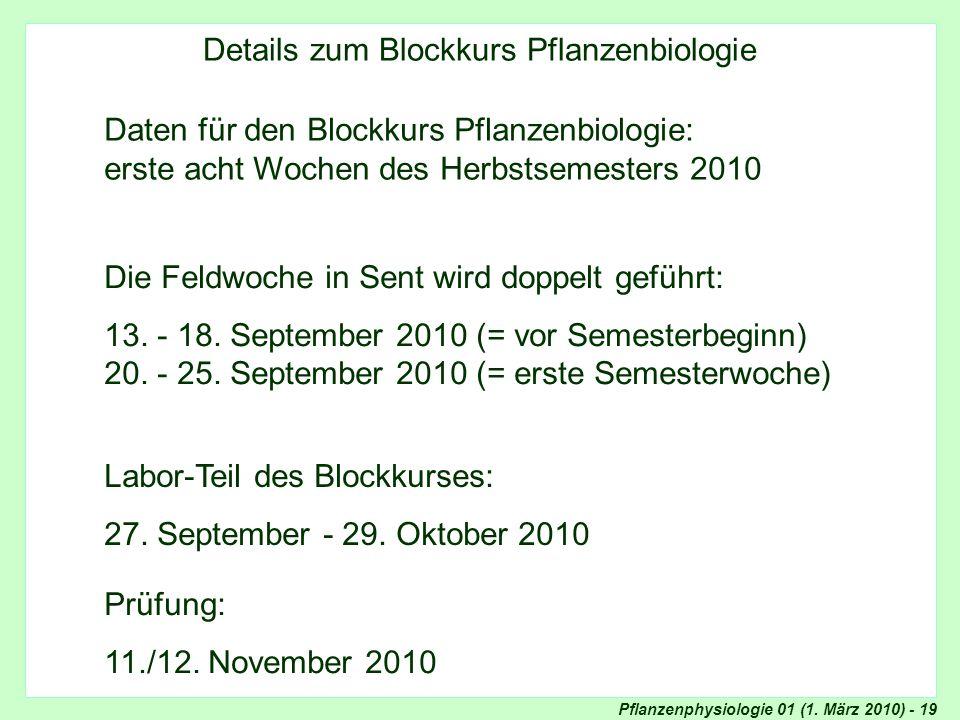 Blockkurs Pflanzenphysiologie: Details