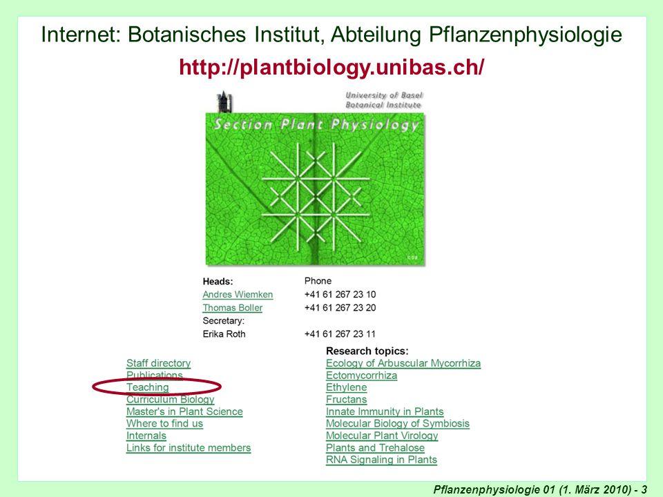 Internet: Abteilung Pflanzenphysiologie