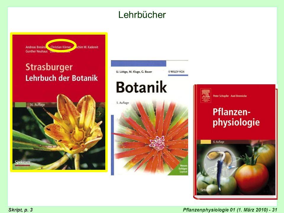 Lehrbücher (Strasburger, Lüttge, Nultsch)