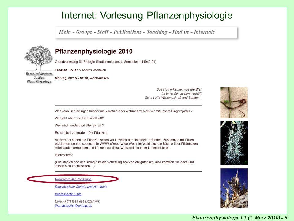 Internet: Pflanzenphysiologie