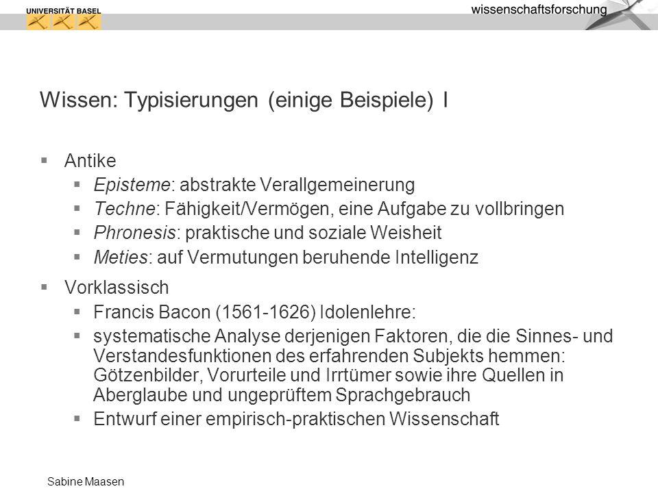 Wissen: Typisierungen (einige Beispiele) I