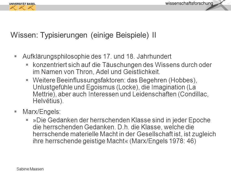 Wissen: Typisierungen (einige Beispiele) II