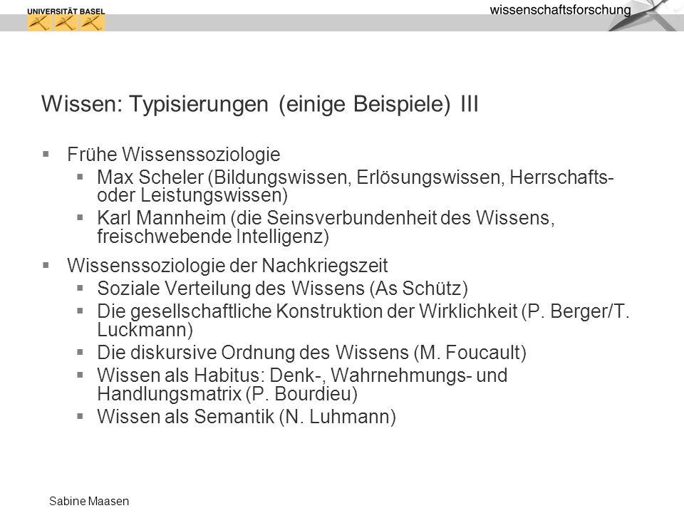 Wissen: Typisierungen (einige Beispiele) III