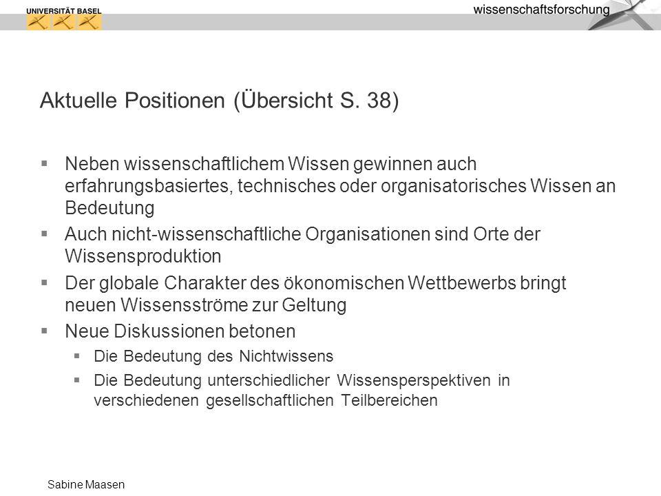 Aktuelle Positionen (Übersicht S. 38)