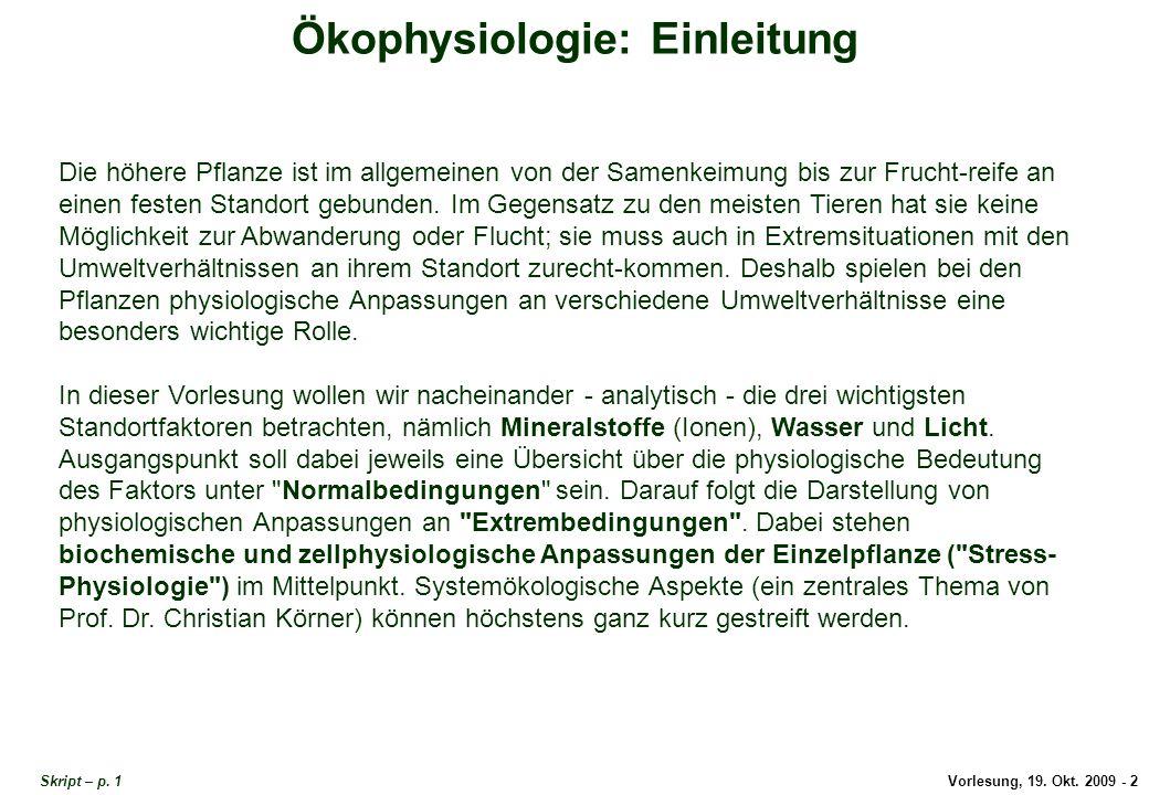 Einleitung Ökophysiologie