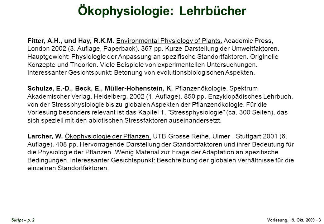 Ökophysiologie Lehrbücher