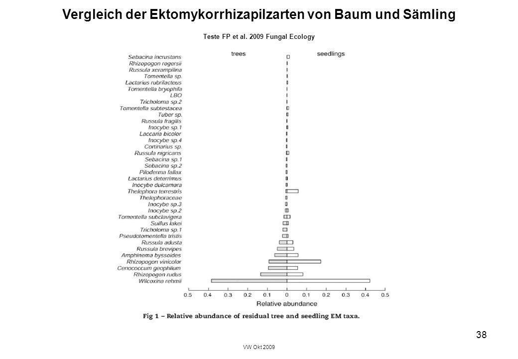 Vergleich der Ektomykorrhizapilzarten von Baum und Sämling