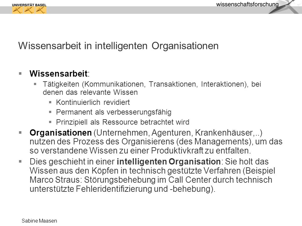 Wissensarbeit in intelligenten Organisationen