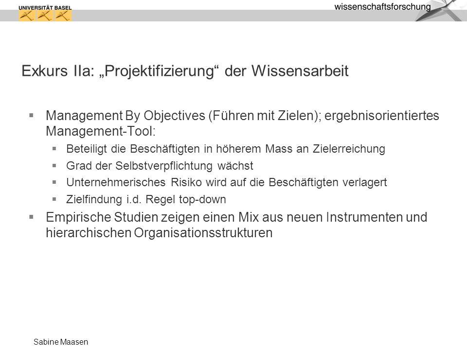 """Exkurs IIa: """"Projektifizierung der Wissensarbeit"""