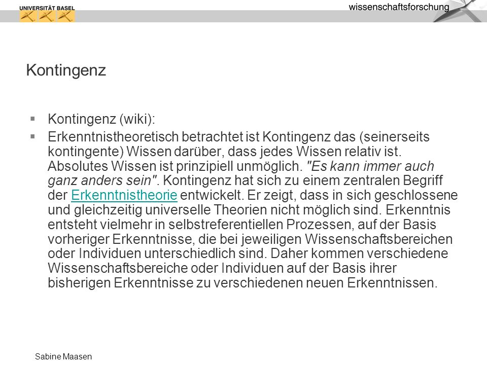 Kontingenz Kontingenz (wiki):