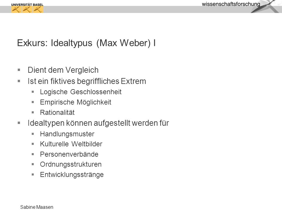 Exkurs: Idealtypus (Max Weber) I