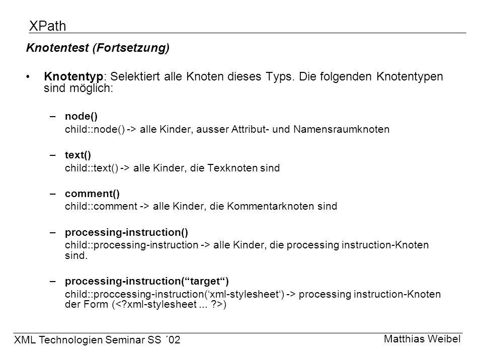 XPath Knotentest (Fortsetzung)
