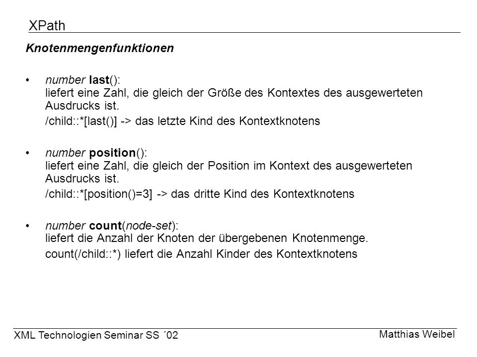XPath Knotenmengenfunktionen