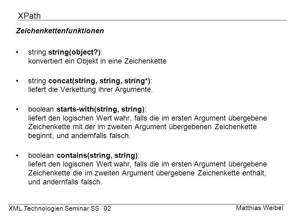 XPath Zeichenkettenfunktionen