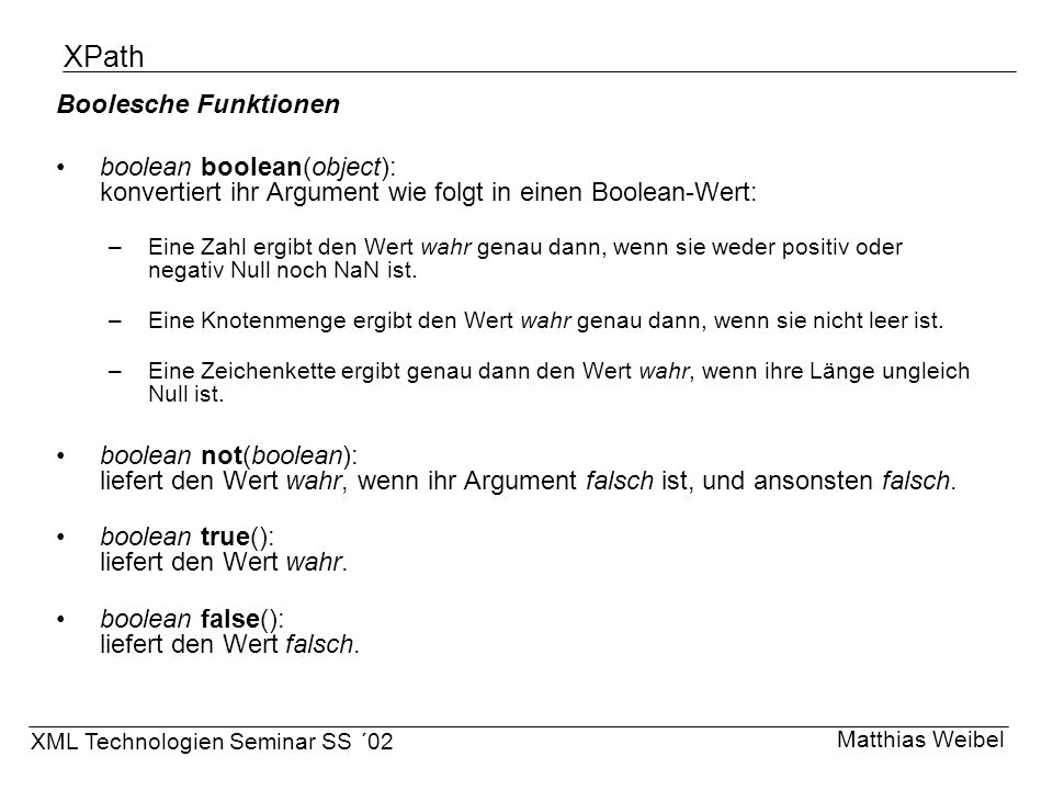 XPath Boolesche Funktionen