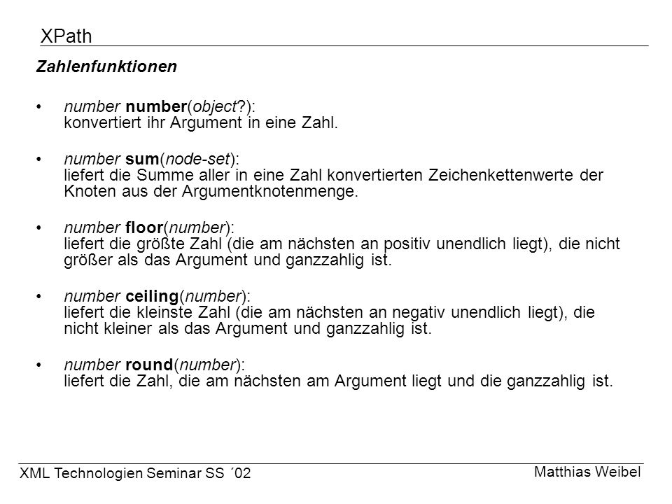 XPath Zahlenfunktionen