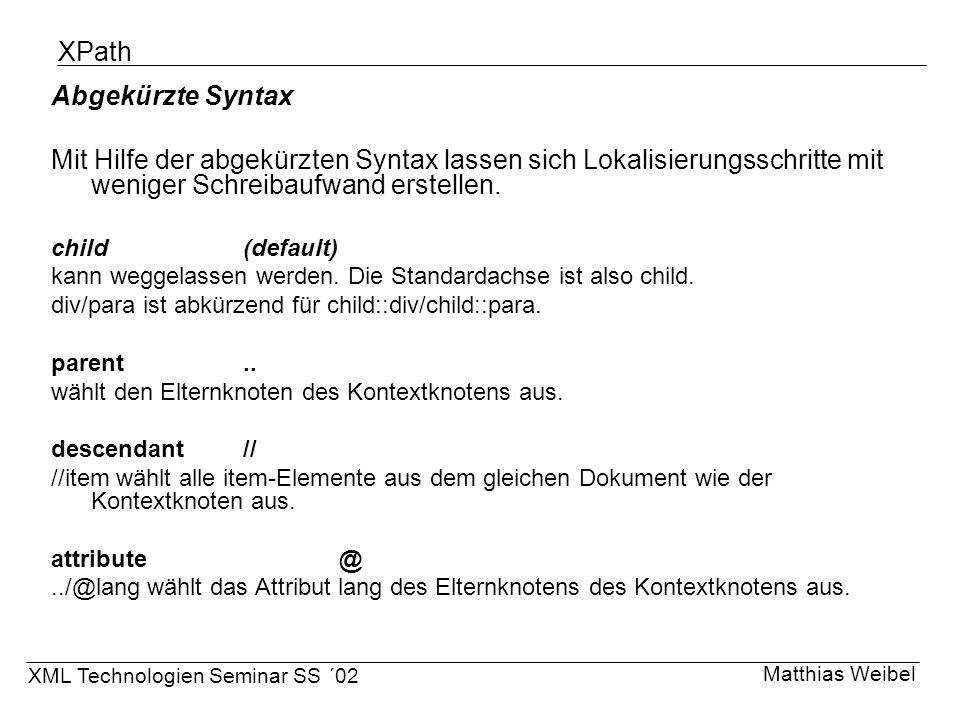XPath Abgekürzte Syntax
