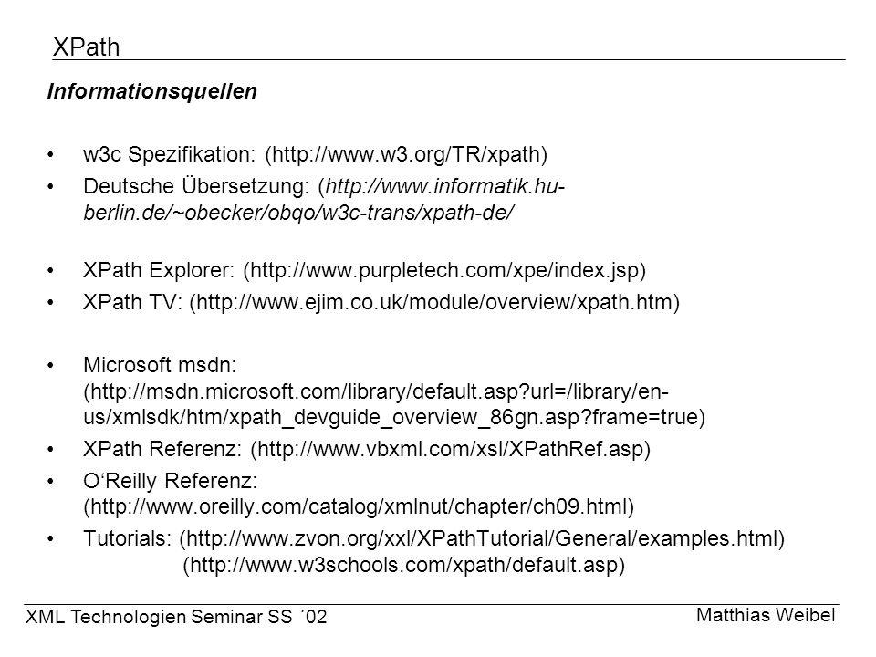 XPath Informationsquellen