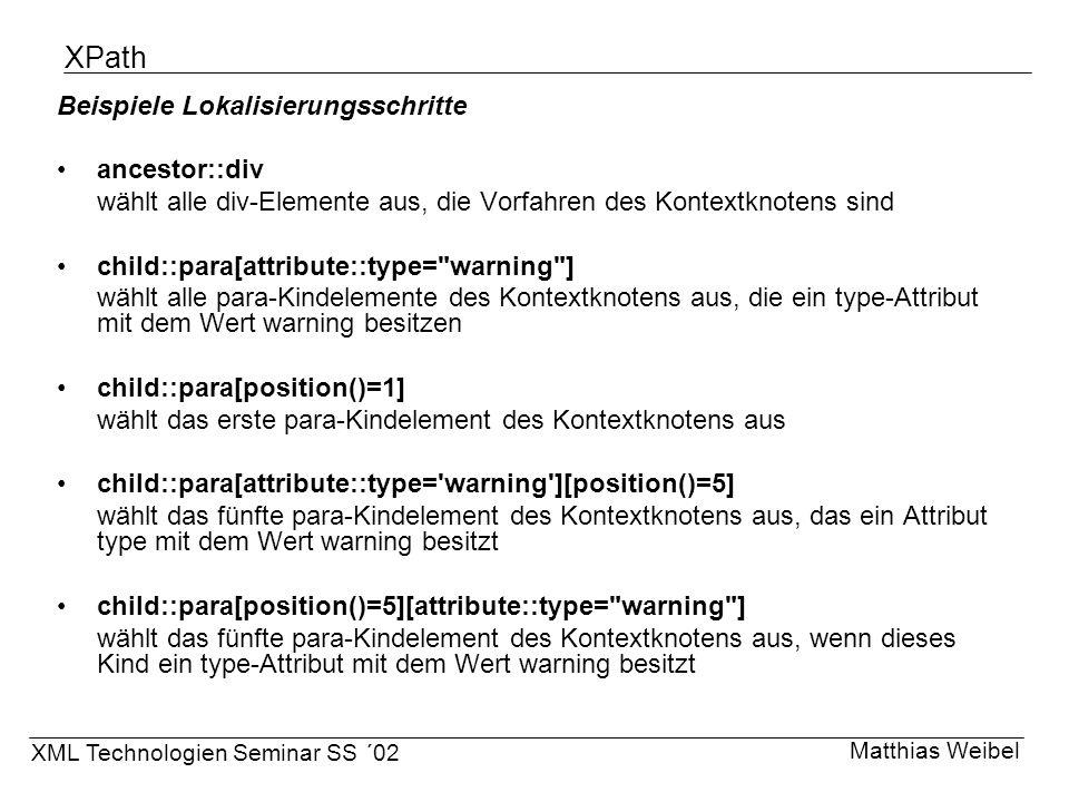 XPath Beispiele Lokalisierungsschritte ancestor::div