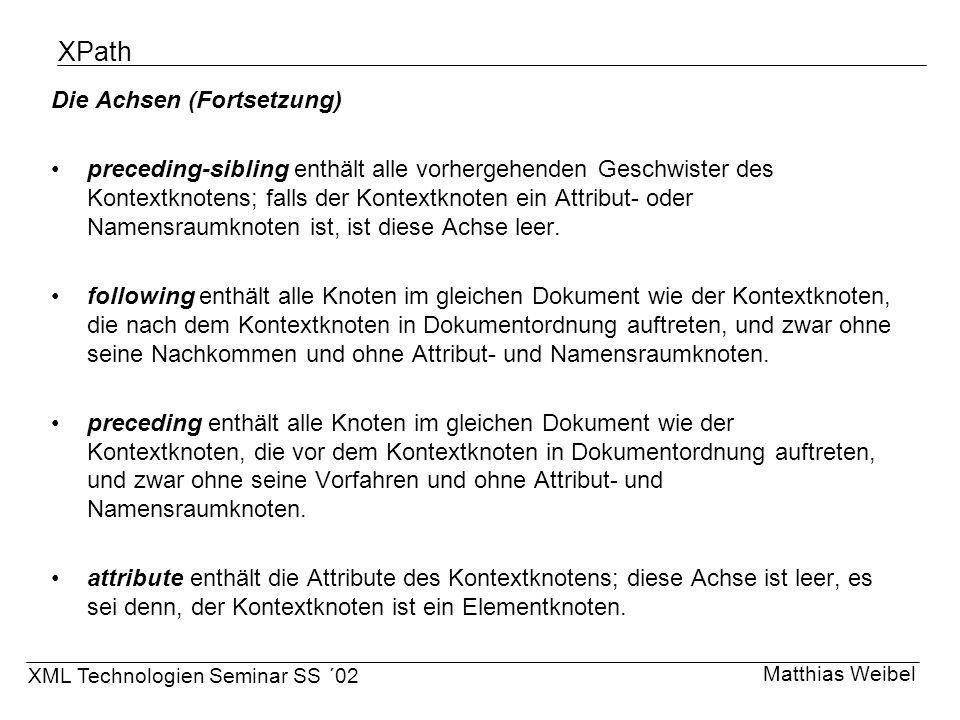 XPath Die Achsen (Fortsetzung)