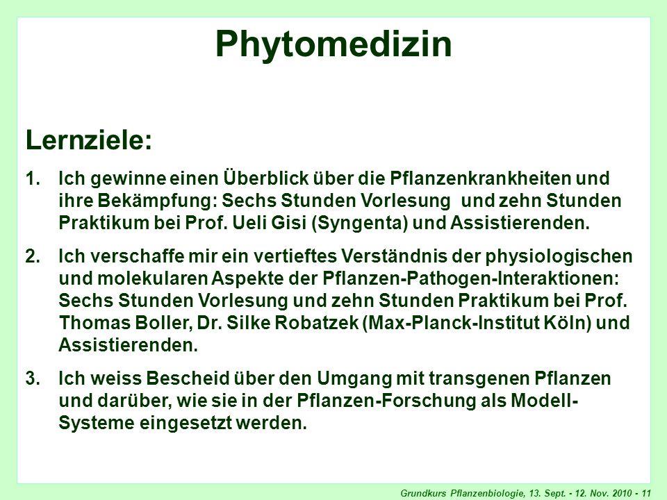Phytomedizin, Lernziele
