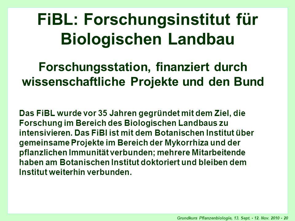 FiBL: Forschungsinstitut für Biologischen Landbau