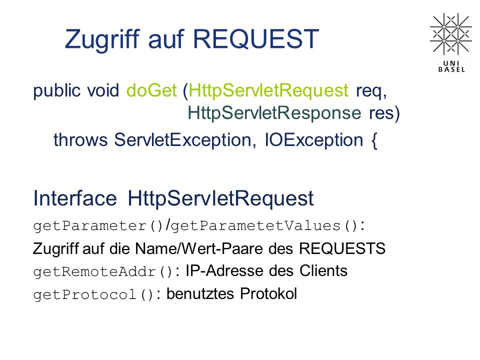 Zugriff auf REQUEST Interface HttpServletRequest