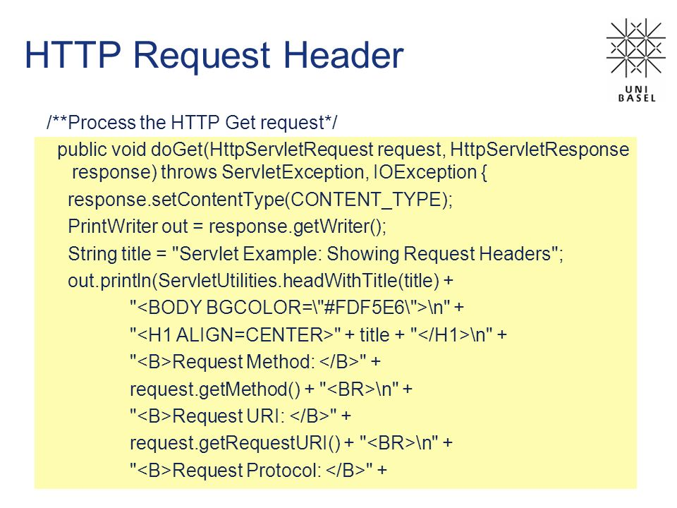 HTTP Request Header /**Process the HTTP Get request*/