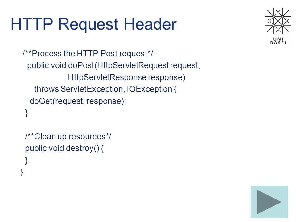 HTTP Request Header /**Process the HTTP Post request*/